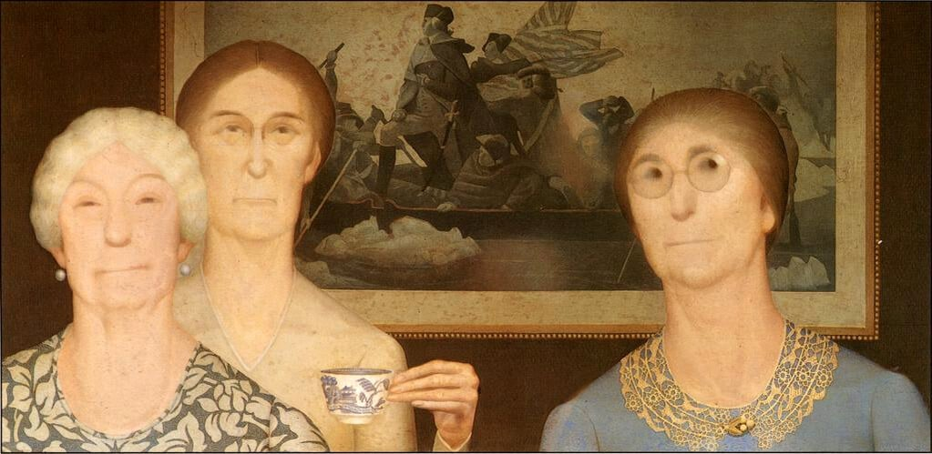 Grant Wood: Daughters of the Revolution (1932); Cincinnatti Art Museum