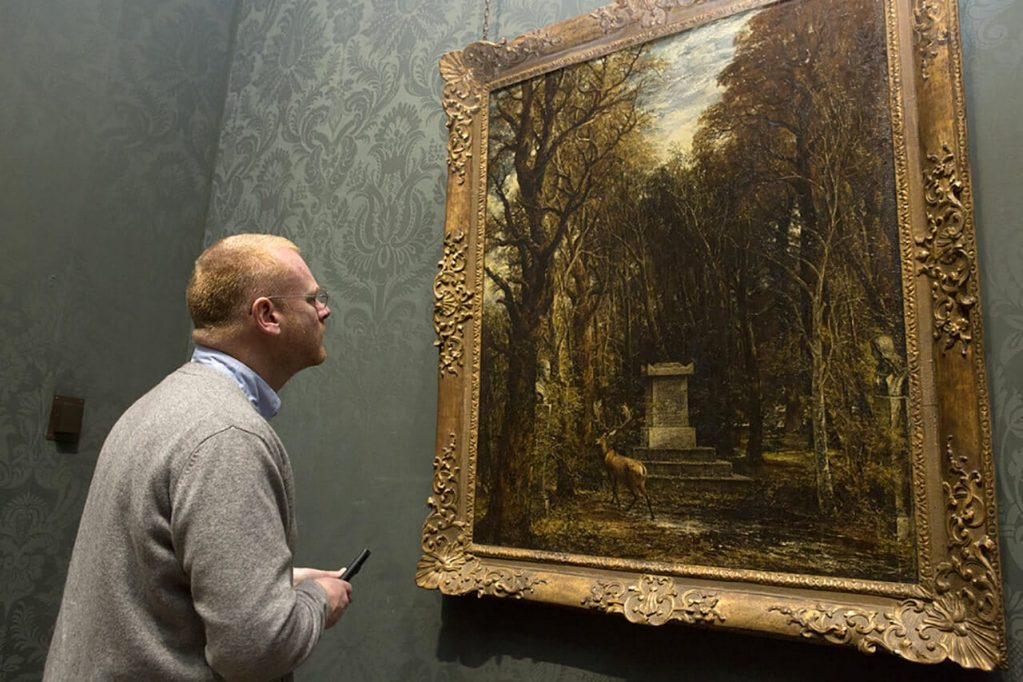 George Shaw looking at Constable's Cenotaph to the Memory of Sir Joshua Reynolds, 1833-36, © National Gallery, London
