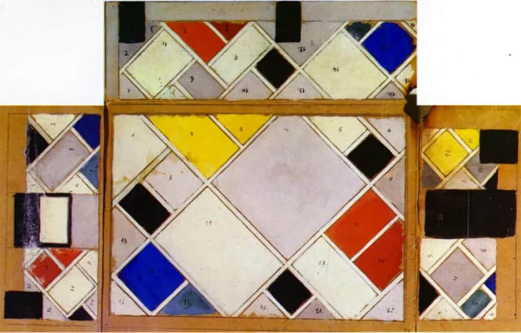 Theo van Doesburg's Colour design for ceiling and three walls, small ballroom, conversion of the Café Aubette interior Strasbourg, 1926-7 (gouache on paperboard)
