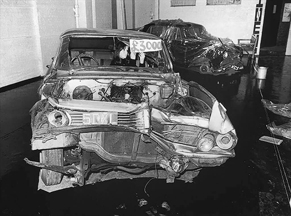 Crash, an exhibition of crashed cars organised by Ballard in 1970 at the New Arts Lab