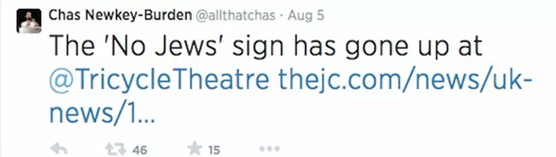 Journalist tweet about the Tricycle Theatre