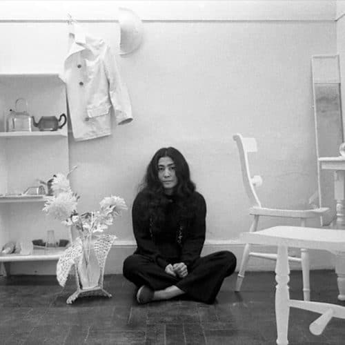 Yoko Ono in Half-A-Room, Lisson Gallery, London, 1967; photo: Clay Perry © Yoko Ono
