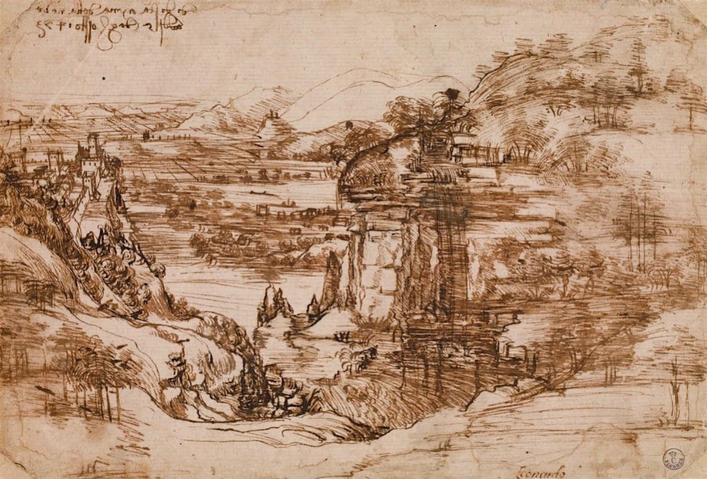 Leonardo, Landscape drawing, landscape, dated 5 August 1473