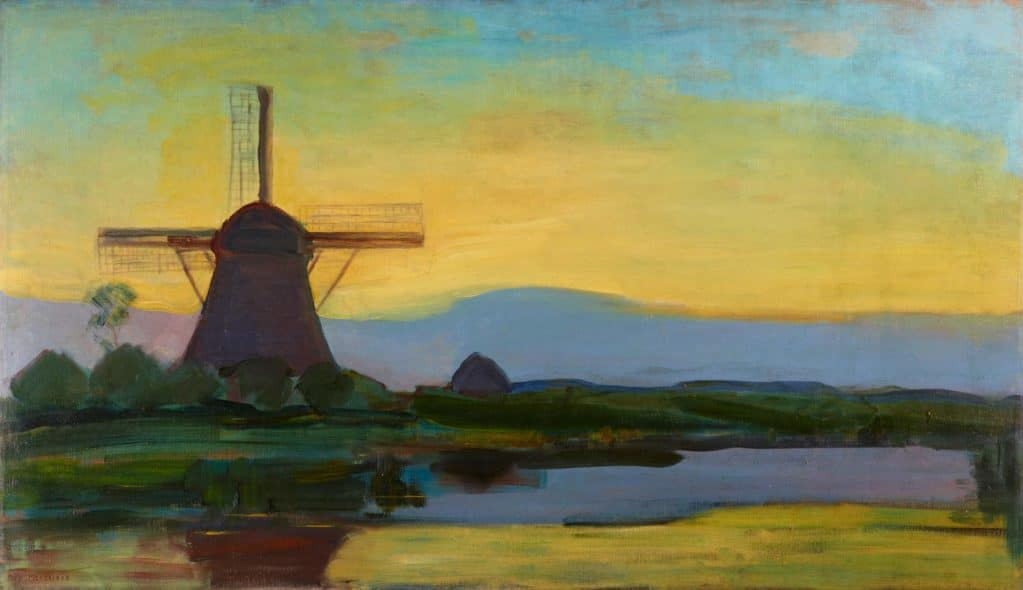 Mondrian, Oostzijdse Mill with Extended Blue, Yellow and Purple Sky